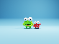 Happy Monsters cute monsters blendercycles blender3d b3d illustration characters character game low poly render lowpoly blender 3d