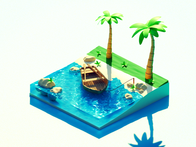 Tropical Island tropical tropics low poly lowpoly tree boat island b3d diorama design illustration render blender 3d