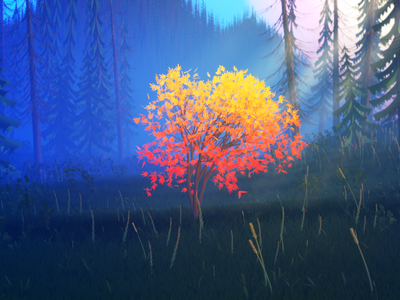 Magic Forest grass foliage fog forest trees concept illustration lowpoly render 3d blender