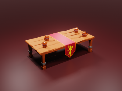 Drinks are on the house of Lannister! lannister game of thrones fantasy table beer concept b3d lowpoly render 3d blender