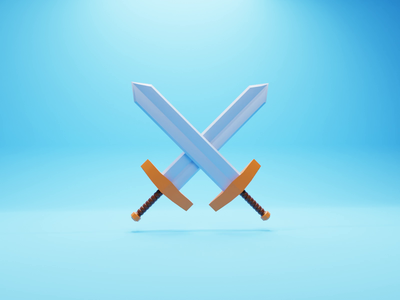 Swords swords sword weapons weapon concept b3d illustration game low poly lowpoly render 3d blender