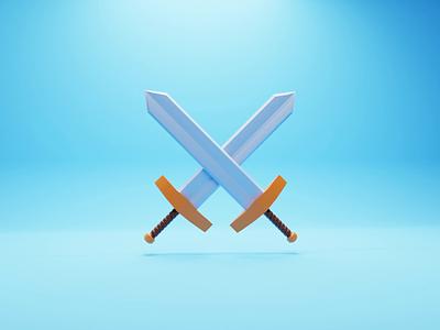 Swords swords sword weapons weapon concept b3d illustration game low poly lowpoly render 3d blender