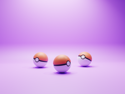 Gotta catch em' all! pikachu characters b3d pokemon pokeball concept illustration low poly lowpoly render 3d blender