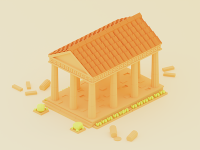 Greek Temple temple greek ancient concept b3d illustration low poly lowpoly render 3d blender