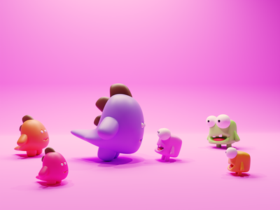 The Encounter nfts nftart nft dinosaurs dinos monsters concept characters b3d illustration low poly lowpoly render 3d blender