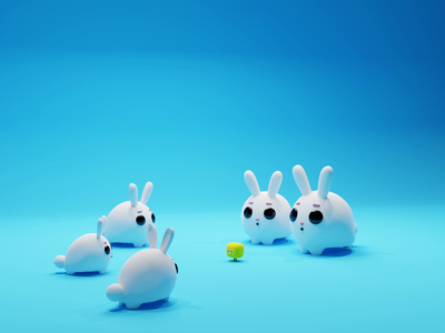 Rabbits! rabbits rabbit character animation nft characters b3d low poly lowpoly render 3d blender
