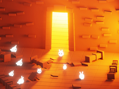 Dungeon Rabbits! nftcommunity nftart nft cute loop animated animation dungeon rabbits isometric concept game b3d characters low poly lowpoly render 3d blender