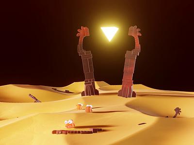 The Obelisk nftcommunity nft nftart ancient ruins desert obelisk animated loop animation monsters concept characters b3d low poly lowpoly render 3d blender