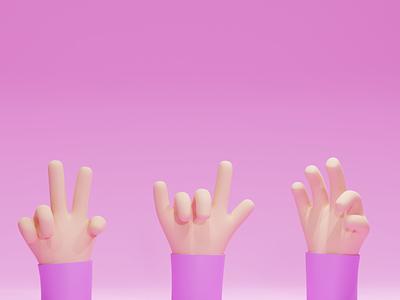 Hands gestures hands concept illustration b3d low poly lowpoly render 3d blender
