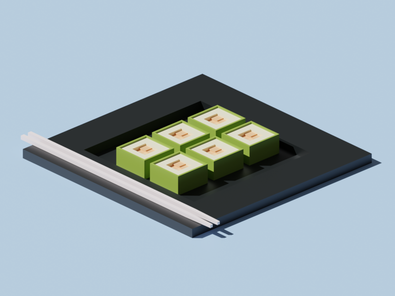 Sushi food low poly render isometric lowpoly blender 3d sushi