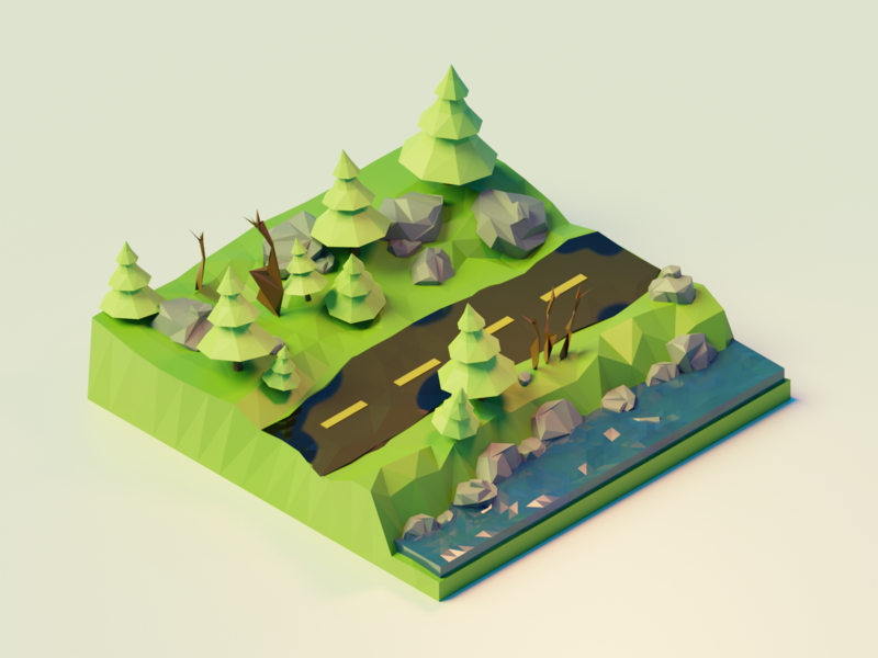 The Road nature forest render low poly lowpoly blender 3d isometric