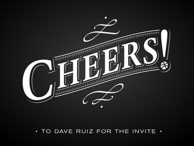 Cheers! typography invite