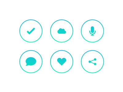 Icons icons flat gradient ios7 check comment love shard siri cloud circle