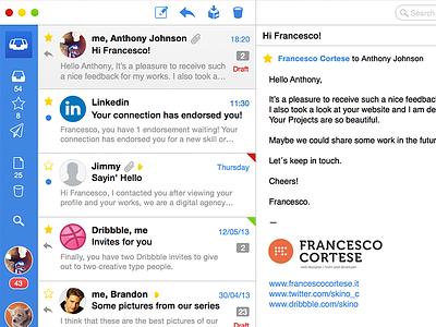Sparrow app redesign sparrow mail ui ios7 mavericks mac app mail client gmail google app sidebar design
