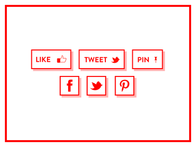 Minimal Sharing Buttons and Social Icons #FF0000 minimal red sharing facebook twitter pinterest sharing buttons social icons drop shadows facebook like pin it