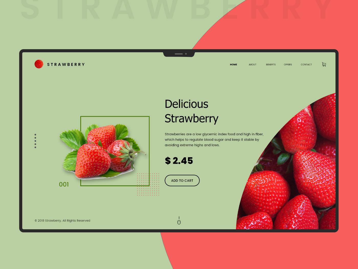 Strawberry Conceptual Design free xd psd freebie xd fresh pink red fruits fruit illustration drinks food web ui design design awesome website design website latest strawberries strawberry fruit