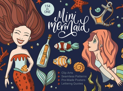 Mini Mermaid. Big Graphic Pack.