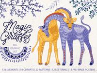 Magic giraffes. Big graphic set