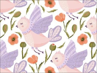 Cute bird  and poppy flowers.