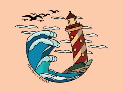 The Lighthouse sea minimalist vector illustration artwork vector art drawing colors design illustrator lighthouse graphic design student adobe illustration