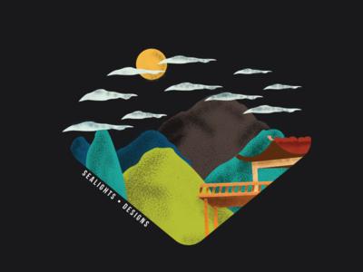 The Mountains adobe students landscape square geometry grain night peaceful minimalist designer illustration intuos wacom illustrator adobe graphic designer student design style japanese mountain