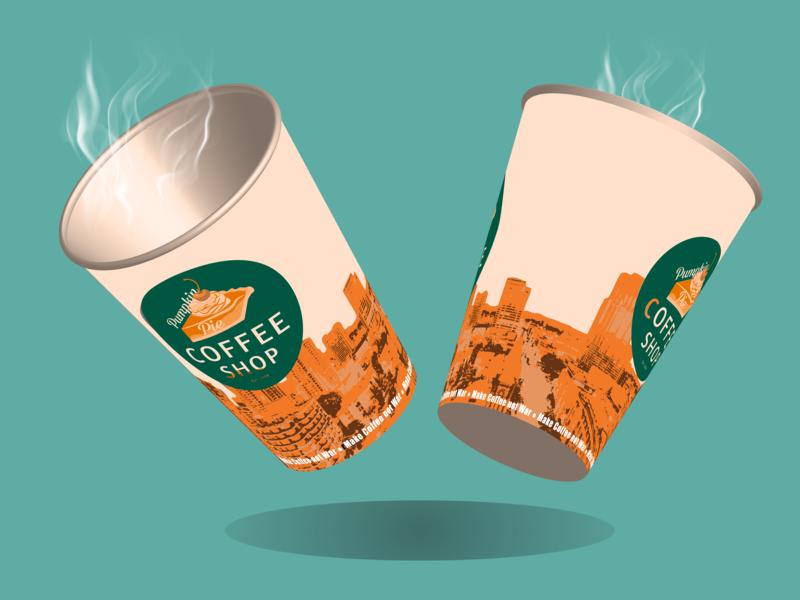 Pumpkin Pie Coffee Shop - Coffee Cups coffee bean coffeeshop coffee cup adobe illustrator graphic designer illustrator vector student work logo branding student designer art minimalist graphic design adobe creative design illustration