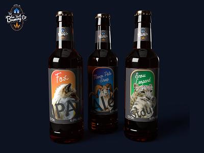 Blue Yurt Brewing Co. beer branding typography branding logo 3d mockup 3d model 3d art student graphic design design creative adobe