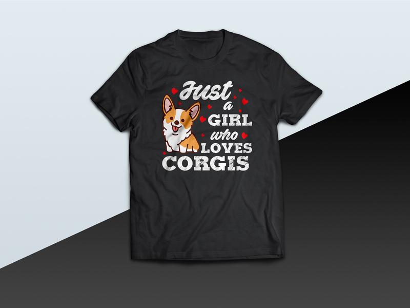 Just A Girl Who Loves Corgi - tshirt love tshirt corgis design corgi tshirt corgis corgi vector illustration tshirt graphics tshirt design tshirt art tees tee design tshirtdesign tshirt