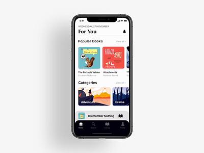 Reading App Design -Librarium design mobile amination mockup iphone iphonex ux ui typogaphy books reading read app