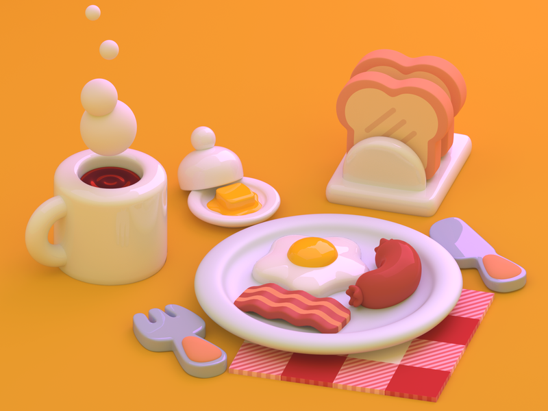 Breakfast breakfast toy cute food blender blender3d 3d art 3d