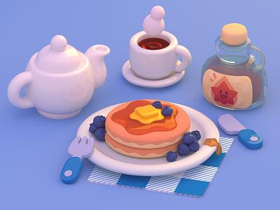 Pancakes pancakes breakfast cute food blender3d blender 3d art 3d