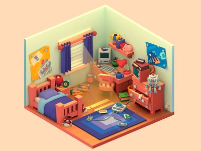 Bedroom low poly enviroment cute blender3d blender 3d art 3d