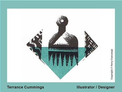 Afro pick DRIBBLE 2020 08 01 flat logo icon book cover romance illustrator design illustration