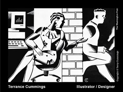 An illustration concept for The Washington Post. terrycummingsdesign black  white editorial terrancecummingsstudio terrancecummings book cover editorial illustration illustration design illustrator