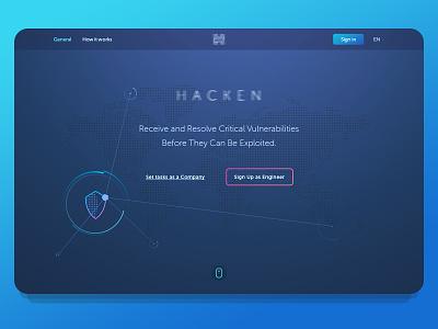 Hacken — promo page concept hacker ux ui theme «promo page» «menu bar» «main page» interface icon hacken design dark