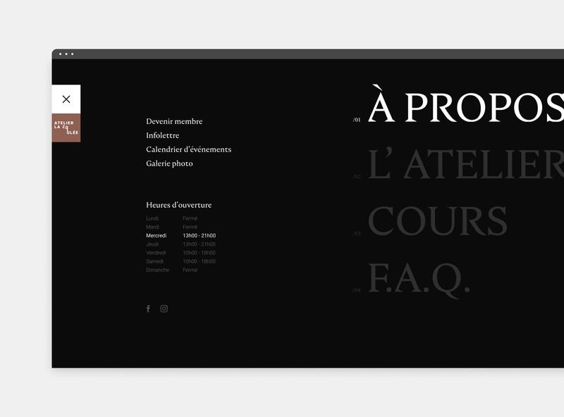 Atelier la coulée - Menu elegant minimalistic minimal webdesign web website ux ui typography clean