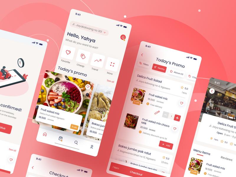 Fooder [FREEBIES] freebies fresh pink restaurant app promo food and drink delivery app food delivery app food app food app android app simple branding clean ux ui minimal flat design
