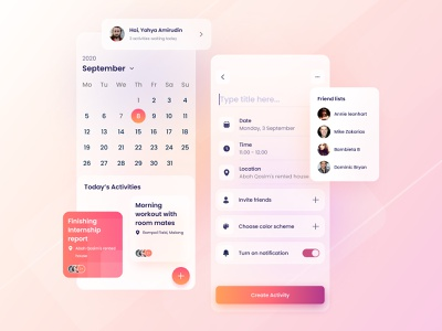 Scheduly - Scheduling app blurred background scheduling scheduler blurry task management app todo app calendar calendar app gradient color glassy ios app android app simple clean ui minimal flat design