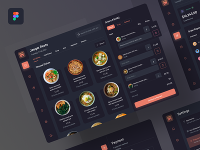 Posly - Food point of sale table product page settings ui payment method management system tablet restaurant app food order food food app point of sale dark mode dashboard simple clean ui minimal flat design