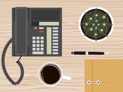 Desk Top Illustrations desk coffee cactus illustrations