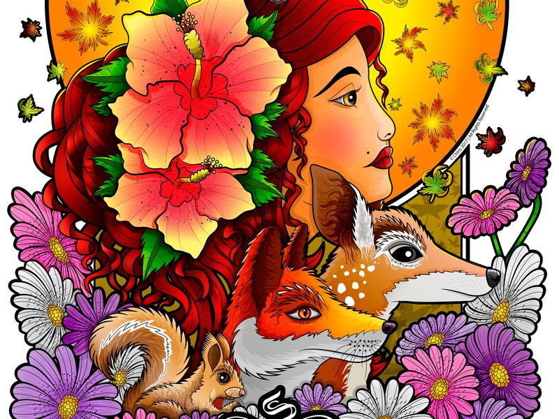 Autumn flowers illustration squirrel woman fox four seasons otoño autumn concept design nature wacom bamboo vector illustration chiris adobe illustrator