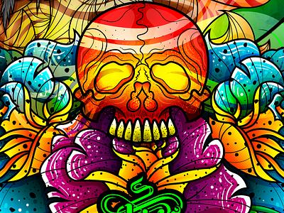 Strength - Skull skull art neotraditional smoke fire strength strengths roses skull adobe photoshop flowers illustration wacom bamboo concept design vector illustration chiris adobe illustrator