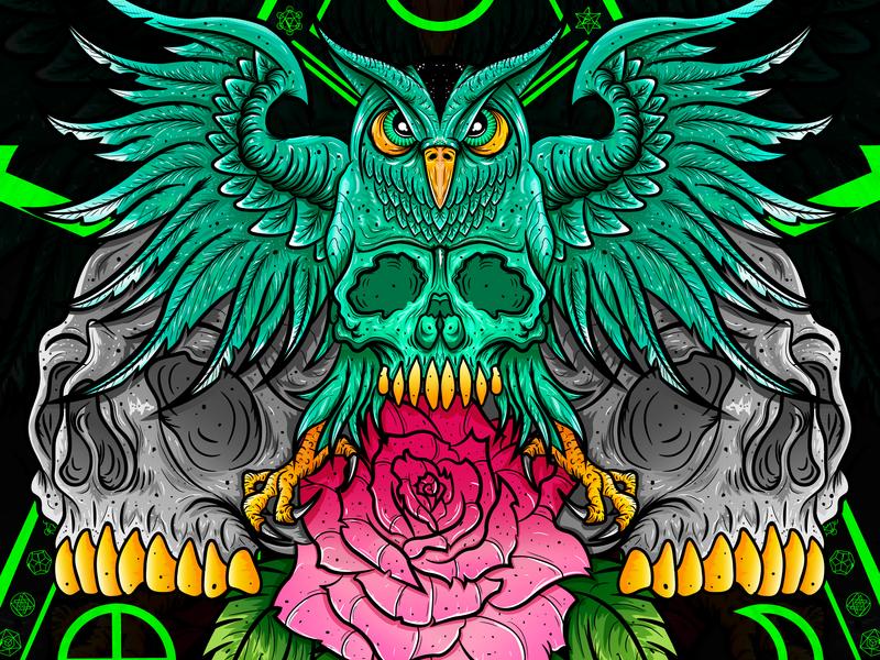 Alquimia owl magic alquimia skull rose flowers illustration design wacom bamboo concept design vector illustration chiris adobe illustrator