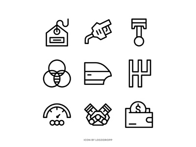 Automotive parts icon web ux ui design illustration piston engine icon set icons automotive
