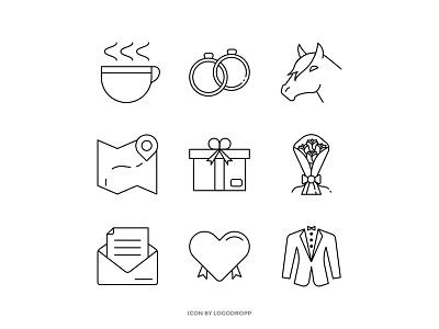Wedding Decoration design icon maps uiux ui icon set gift wedding invitations hourse wedding