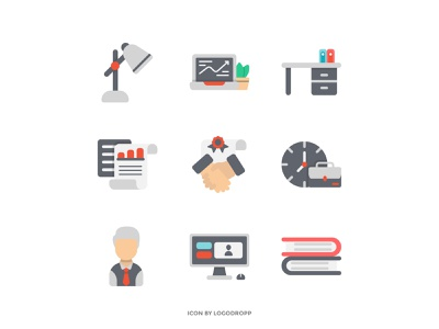 Work on Office icon Set with Flat Style vector graphic design minimalist icon icon work icon set icon flat icon office