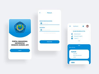 User Interface Portal University Swadaya Gunung Jati graphic design ui blue theme screen app vector mobile app ux ui minimal