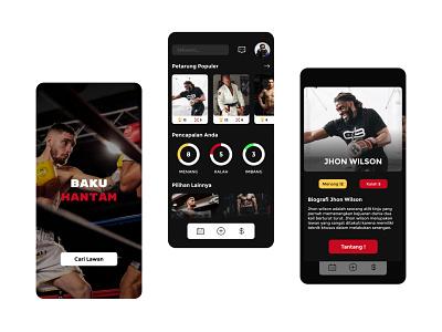 Ui Baku Hantam Mobile App android and IOS Black Theme Color app boxing app vector icon programmer minimalist ui mobile ui black theme color app design mobile app ux ui uiux