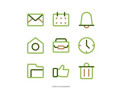 Ui icon App with Theme Green Color vector design ouline icon icon logo mobile app mobile icon icon design ui home icon green