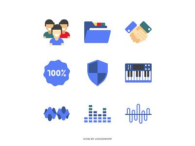 Flat icon Set - Music Theme icon minimalist design vector flat icon mobile app ux icon logo icon design music icon